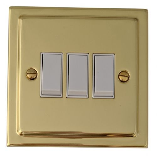 G&H TB3W Trimline Plate Polished Brass 3 Gang 1 or 2 Way Rocker Light Switch